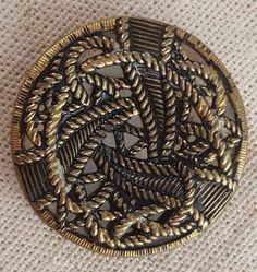 ANTIQUE BRASS BUTTON 38mm TRIPLE ROPE INTERTWINED DESIGN MIRROR BACK TRINITY