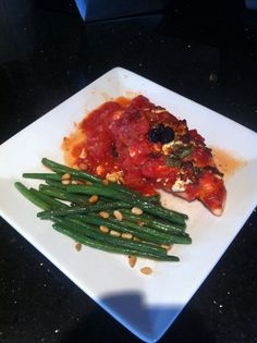 Juice Plus meal plan idea-Greek Chicken with green beans and pine nuts.