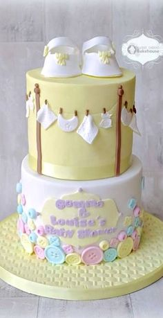 Buttons & Clothesline Baby Shower Cake