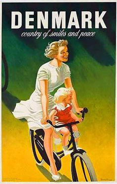 Denmark country of smiles and peace   Vintage travel poster