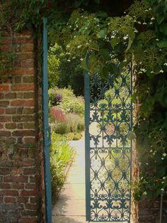 Blue metal garden gate