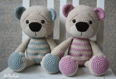 The teddy bear I made for my son in the last months of previous year got a new version and formed into a pattern. I crocheted two examples – pink as a girl and blue...