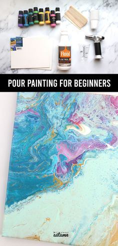Learn everything you need to know to get started in this pour painting for beginners guide. Find step by step instructions for your first easy pouring technique as well as details about which supplies you actually need. Easy craft for adults. Easy Crafts, Crafts For Kids, Pour Painting, Acrylic Pouring, Step By Step Instructions, Diy Tutorial, Learning, Art, Crafts For Children