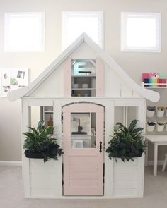 Pretty in Pastels Playhouse - Project Nursery: The kitchen inside & sitting area! Inside Playhouse, Build A Playhouse, Playhouse Outdoor, Wooden Playhouse, Outdoor Play, Closet Playhouse, Playhouse Decor, Simple Playhouse, Playhouse Ideas