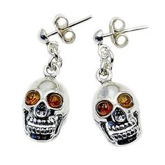 Silver plaza jewelry.  For Halloween 🎃 Sterling silver Skull Dangle Earrings with Baltic amber cabochons.