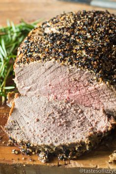 Sirloin Roast Beef with a 3 ingredient Dijon peppercorn crusted top makes an elegant holiday dinner. Oven roasted to your preference with these tips!