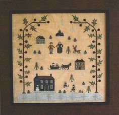Free prim Sampler Patterns | Primitive Folk Art Cross Stitch Pattern ...