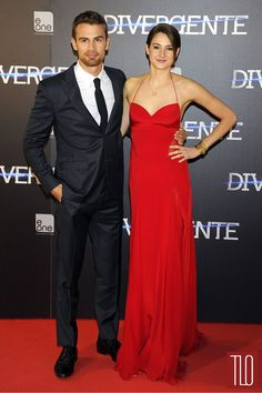 """Theo James and Shailene Woodley attend the premiere of """"Divergent"""" in Madrid, Spain."""