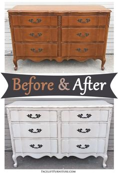 Antiqued White French Dresser ~ Before and After. Find more painted, glazed & distressed inspiration on our Pinterest boards, or on the Facelift Furniture DIY blog.