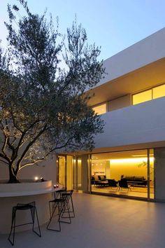 プール・水庭のある家 大きなオリーブの木と水の庭が迎える家 アーキッシュギャラリー