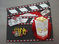 2013 Challenge 34 - Hollywood card - movie making director's board with popcorn, thank you card