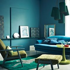 Interior: blue and green retro living room