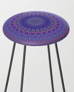 Purple Mandala Counter Stool by David Zydd Counter Stools, Bar Stools, Bohostyle, Designer Friends, Mandala Design, Sacred Geometry, Kitchen Decor, Furniture Design, Dining Table