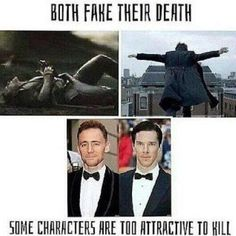 Loki and Sherlock both fake their deaths. some characters are too attractive to kill