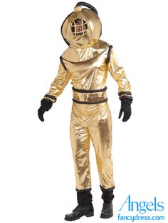 "Supercool deep sea diver costume includes a golden jumpsuit with a belt and a matching helmet. Adult outfit fits up to chest size 42"". Gloves are available separately.  http://www.fancydress.com/costumes/Deep-Sea-Diver/0~4347857~12"
