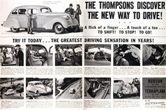 1937 Hudson original vintage advertisement. Features the Hudson Eight Custom Club Country Sedan. Views of interior features and options.