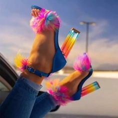 High End Shoes, Fur Heels, Rainbow Shoes, Wedding Shoes Bride, Ankle Strap High Heels, Colorful Shoes, Women's Summer Fashion, Women's Fashion, Fashion Heels