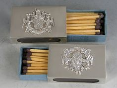 Pair George VI Silver Match Box Covers 'Worshipful Company of Grocers'
