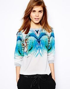 Image 1 ofWarehouse Marble Print Woven Sweat Top