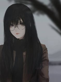 Anime picture with original aoi ogata long hair single tall image looking at viewer black hair fringe signed black eyes hair between eyes upper body lipstick portrait watermark pink lipstick grey skin girl scarf button Kawaii Anime Girl, Dark Anime Girl, Cool Anime Girl, Beautiful Anime Girl, Anime Art Girl, Anime Love, Anime Girls, Beautiful Eyes, Chica Anime Manga