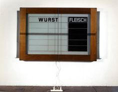 Reinhard Mucha  Potsdamer Platz, [ 1996 ], 1979  Metal, glass, enamel painted on reverse of glass, wood, 2 fluorescent lamps, electrical cord, 2 male plugs + adapter, extension cord with 2 female plugs  140 x 202 x 17 cm