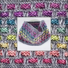 Ribbons of colour appear to thread through this cowl which is knitted in the round using a simple slip stitch pattern. This makes it lovely and warm and the eight shades of Batik yarn used for the ribbons make it colourful too.