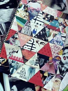 Looks cayoote and super easy, cut out some of your favorite designs from Magazines and cut them up into triangles and glue them on Le notebook! Don't forget to make right triangles for the end of your notebooks