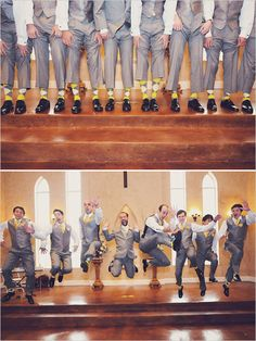 guys' wedding socks do not have to be boring formal.get matching color socks! These wore yellow and gray argyles.The guys' wedding socks do not have to be boring formal.get matching color socks! These wore yellow and gray argyles. Groomsmen Poses, Bridesmaids And Groomsmen, Groom And Groomsmen, Yellow Wedding, Wedding Colors, Dream Wedding, Wedding Day, Trendy Wedding, Wedding Stuff