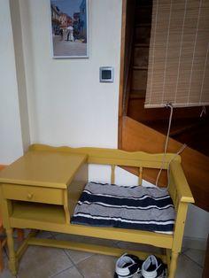 diy bricolage un meuble téléphone transformé couleur moutarde pour l'entrée