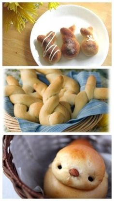 BUNNY BREAD - I love this idea of changing a delicious savoury food like bread and shaping it into rabbit and bunny shapes to incorporate the celebration of easter. ( rabbits are a traditional easter animal )