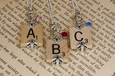 Choice Scrabble Letter Necklace-A B C D E F G H I L by lauralynns