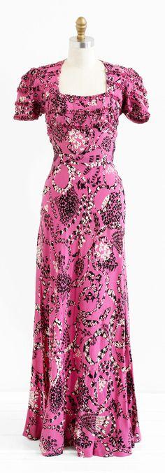 vintage 1930s pink + black floral novelty print evening gown | vintage dress | www.rococovintage.com