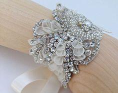 cystal and pearl bridal cuff