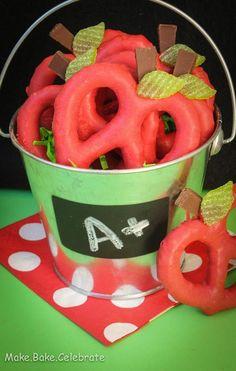 Back to school pretzel apples...cute!