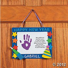 "Handprint ""Happy New Year"" Keepsake Craft Kit. Celebrate the new year with this fun craft kit. Includes foam pieces, ribbon and a bo. Daycare Crafts, Classroom Crafts, Baby Crafts, Fun Crafts, Crafts For Kids, Classroom Board, Classroom Ideas, New Year Poem, New Year Art"