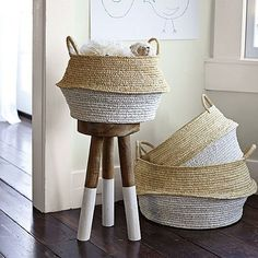 "Fun set of baskets - what's not to love about a basket called a ""round belly"" basket? - Round Belly Baskets – Set of 2 Baby Storage, Kids Storage, Storage Baskets, Laundry Baskets, Playroom Storage, Nursery Storage, Towel Storage, Decoration Inspiration, Design Inspiration"