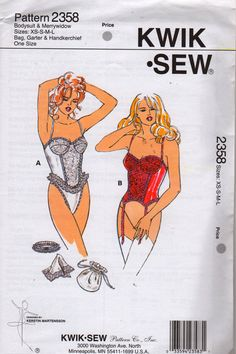Kwik Sew 1990s Misses Bodysuit Merrywidow Corset with Underwire Bra Bag Garter and Handkerchief womens sewing pattern by mbchills