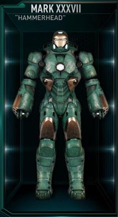 """The thirty-seventh Iron Man suit created by Tony Stark was a Deep Sea Suit nicknamed """"Hammerhead"""". It was designed to travel to the deepest parts of the ocean, being able to withstand extreme pressure; it has high-powered work-lights to allow visibility in murky waters. The Hammerhead suit was among those summoned by Stark to battle Extremis-enhanced soldiers assisting Aldrich Killian's plot. It was controlled at the time by J.A.R.V.I.S., Stark's A.I. program."""