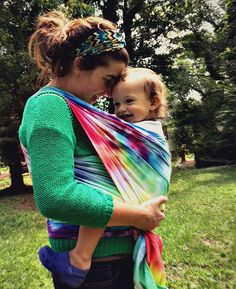 RAINBOW TIE DYE Cotton Gauze Baby Wrap Carrier like Moby Wrap Lightweight Woven Baby Carrier. $40.00 USD, via Etsy.