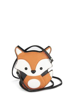 Critter-cal Mass Bag in Fox - Orange, Black, Print with Animals, Quirky, White, Halloween, Statement, Top Rated, Critters, Press Placement, Woodland Creature, Fall
