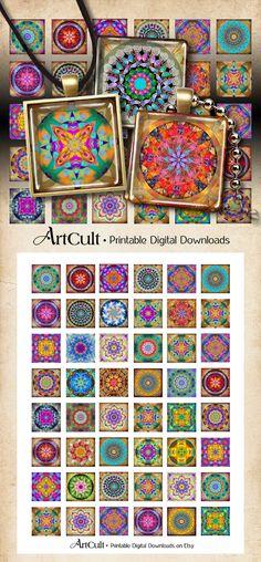 "1""x1"" (25x25mm) images MANDALAS Digital Collage Sheet Printable download for glass or resin pendants magnets bezel trays paper ArtCult"