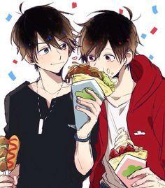 Osomatsu-san - Osomatsu x Karamatsu Matsuno - OsoKara All Anime, Me Me Me Anime, Anime Guys, Anime Art, Anime Siblings, Anime Couples, Osomatsu San Doujinshi, Manga Cute, Happy Tree Friends
