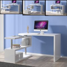 Miami Rotating Computer Desk In White High Gloss With Shelving Unit It can Be Positioned according to your Choice Finish: White High Gloss And Chrome Supports Features: Furniture Design, Office Furniture Desk, Home, Home Office Design, Desk, Furniture, Oak Furniture, Home Office Computer Desk, Simple Room