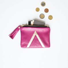 Pink Leather Coin Purse Gold Art Deco Bag Gold by gmaloudesigns