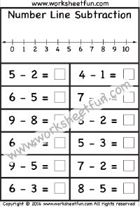 Number Line Subtraction – 1 Worksheet