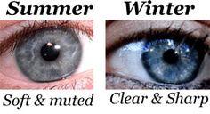 New Ideas eye color types Clear Winter, Deep Winter, Winter Colors, Summer Colors, Soft Summer Color Palette, Summer Eyes, Summer Skin, Winter Typ, Eye Pattern