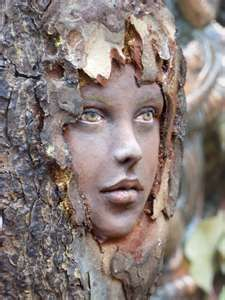 I can imagine using bark, makeup, and taking pictures of people instead of this beautiful art piece. wood sprite