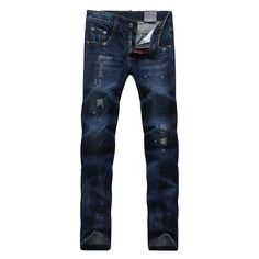 48.08$  Buy here - http://aliwio.worldwells.pw/go.php?t=32764569738 - High Quality Mens Ripped Biker Jeans 100% Cotton Black Slim Fit Motorcycle Jeans Mens Vintage Distressed Denim Jeans Pants 48.08$