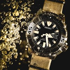 My Seiko Monster in a fish tank. Find this at a Thurber Jewelers thurberjewelers.com #thurberjewelers #seiko #mensfashion