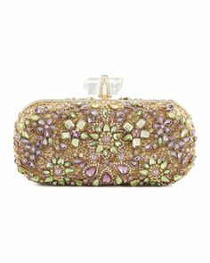 Lily Crystal Embroidered Box Clutch Bag, Gold/Multi by Marchesa at Bergdorf Goodman.